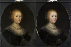 "These two photos show the before (L) and after restoration of a painting called ""Portrait of a Young Woman."" The Allentown Art Museum now believes that the 1632 painting, which had been attributed to an unspecified artist in Rembrandt's workshop, is a work from the Dutch master himself. Photos courtesy of the Allentown Art Museum"