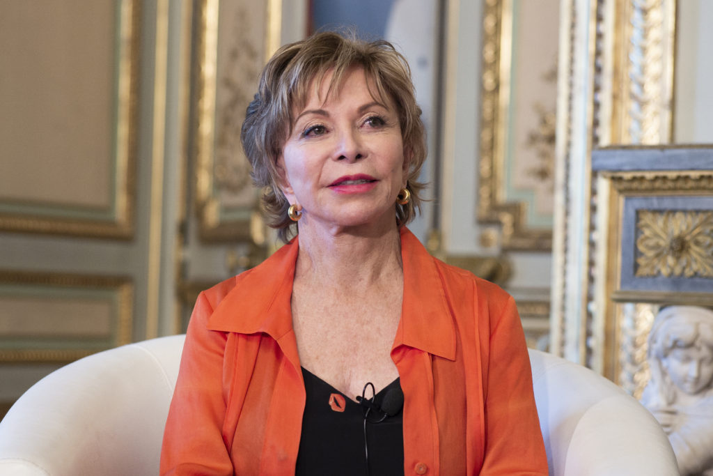 "Writer Isabel Allende during a presentation of her book ""Largo Petalo de Mar"" in Madrid, Spain. Photo by Oscar Gonzalez/NurPhoto via Getty Images"