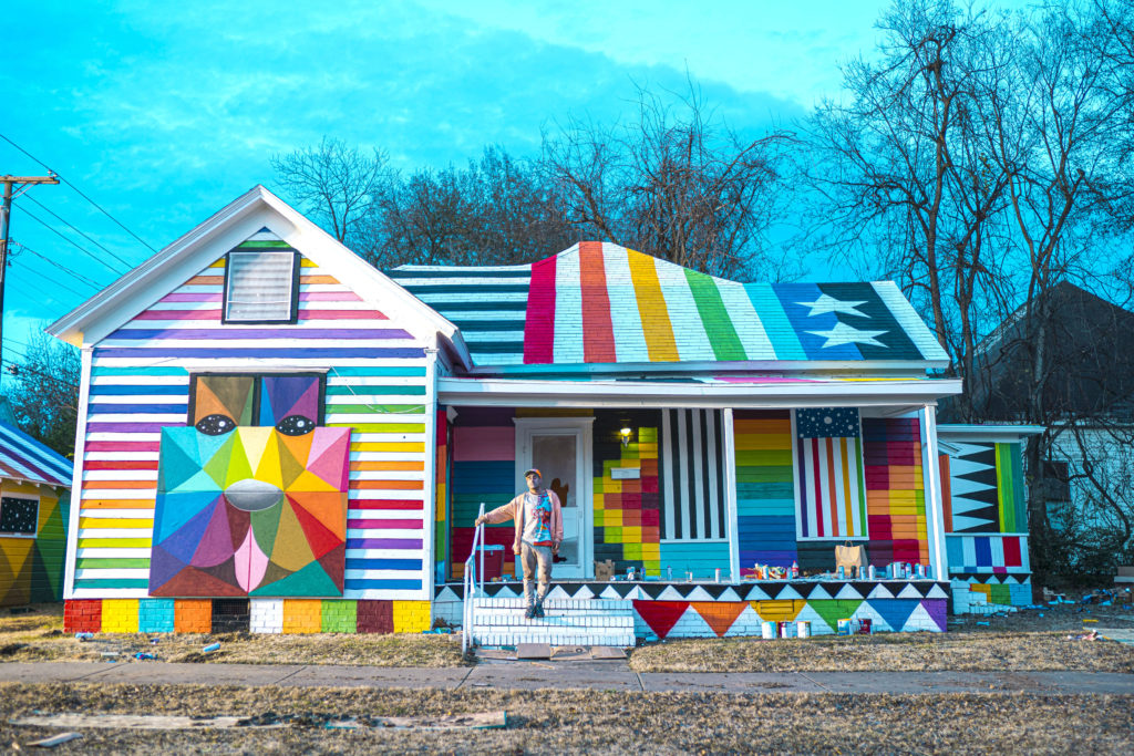 """Rainbow Embassy"" (2019) by Okuda San Miguel. Photo courtesy of Ink and Movement"