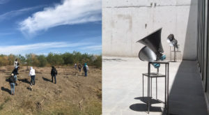 "On the left, civilian group Las Rastreadoras de El Fuerte search in the desert for mass graves in Los Mochis, Mexico. On the right, artist Luz María Sánchez's sound piece ""V.[u]nf_4"", which incorporates sounds from the desert searches. It appeared at the University Museum Contemporary Art in Mexico City last year. Photos courtesy by Luz María Sánchez"