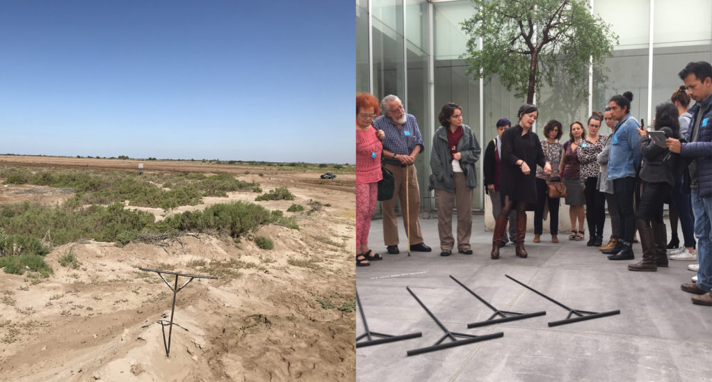 "On the left, a ""T"" rod is seen in the desert. In the right photo, Sánchez speaks to a group of visitors to the exhibit about the rods. Photos courtesy of Luz María Sánchez"