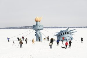 Lady Liberty atop Lake Mendota, seen in February 2019. Photo by Jeff Miller. Photo courtesy of the University of Wisconsin–Madison.