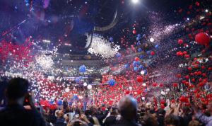 Balloons pour from the ceiling as delegates celebrate after Democratic U.S. presidential nominee Hillary Clinton accepted the nomination on the fourth and final night at the Democratic National Convention in Philadelphia, Pennsylvania, U.S. July 28, 2016. REUTERS/Carlos Barria