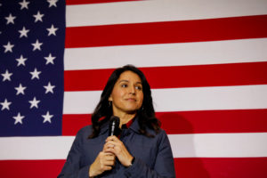 Democratic presidential candidate Rep. Tulsi Gabbard speaks during a campaign event in Lebanon, New Hampshire, U.S., February 6, 2020. Photo by Brendan McDermid/Reuters
