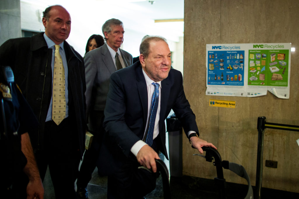 Film producer Harvey Weinstein arrives at New York Criminal Courtroom during his sexual assault trial in Manhattan. Photo ...