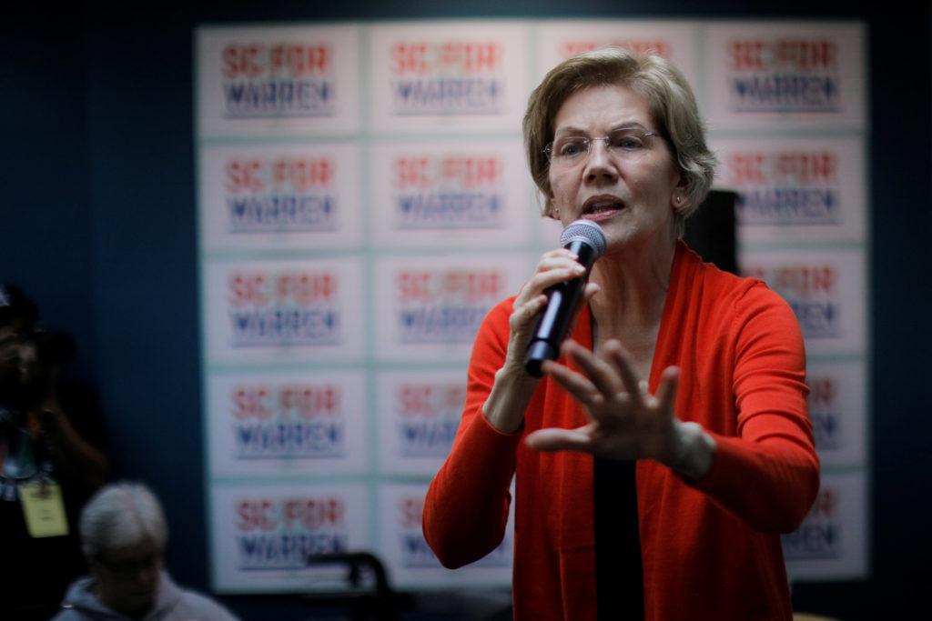 Sen. Elizabeth Warren (D-Mass.) speaks at a campaign Canvass Kick Off in Graniteville, South Carolina, U.S., February 28, 2020. Photo byBrian Snyder/Reuters