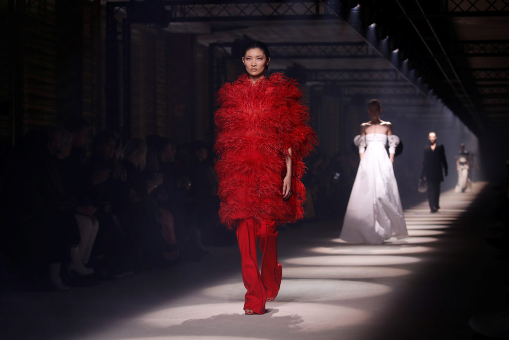 A model presents a creation by designer Clare Waight Keller as part of her Fall/Winter 2020/21 women's ready-to-wear collection show for fashion house Givenchy during Paris Fashion Week in Paris, France, March 1, 2020. Photo by Gonzalo Fuentes/Reuters