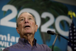 Democratic U.S. presidential candidate Michael Bloomberg speaks during a press conference at his campaign office in Little Havana, Miami, Florida, March 3, 2020. Photo by Marco Bello Reuters