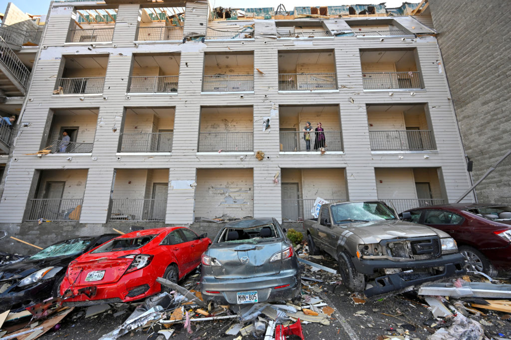 Damage to Amplify Apartments building is seen after a tornado hit eastern Nashville, Tennessee. Photo by Harrison McClary/Reuters