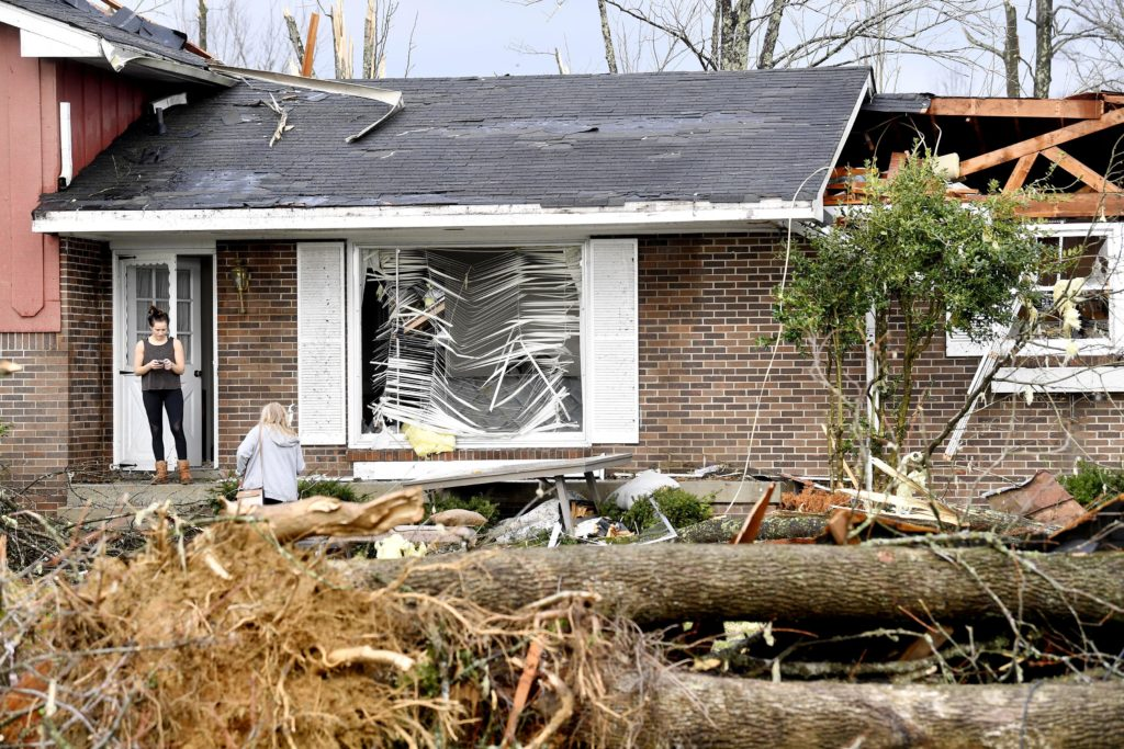 Residents begin the cleanup on Barrett Drive in Mt. Juliet after a tornado touched down Tuesday, March 3, 2020 in Middle T...