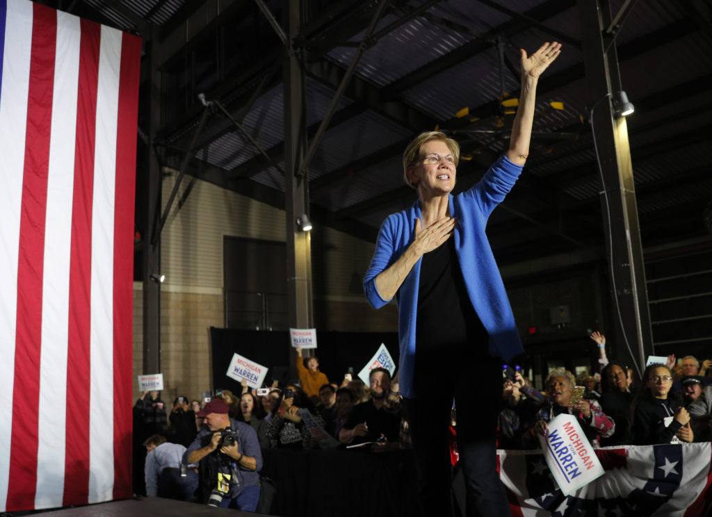 Democratic U.S. presidential candidate Senator Elizabeth Warren waves after speaking to supporters at her Super Tuesday night rally in Detroit, Michigan, U.S., March 3, 2020. Photo by Brian Snyder/Reuters
