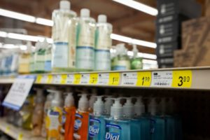 Empty spaces are all that remain where hand sanitizer used to be on the shelves at Bi-Mart on Lancaster Drive in Salem, Oregon. Photo by Reuters