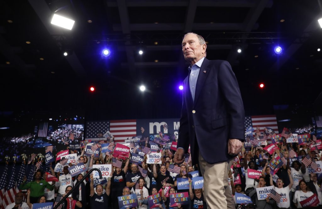 Democratic U.S. presidential candidate Michael Bloomberg speaks at his Super Tuesday night rally in West Palm Beach, Florida, March 3, 2020. Photo by Marco Bello/Reuters