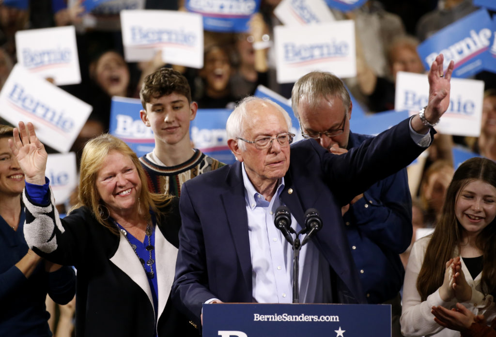 Democratic U.S. presidential candidate Senator Bernie Sanders is accompanied by his relatives, including his wife Jane, as...