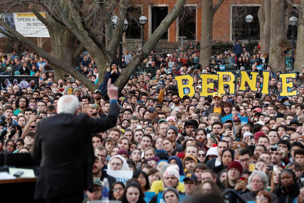 U.S. Democratic presidential candidate Bernie Sanders speaks during a rally at the University of Michigan in Ann Arbor, Mi...