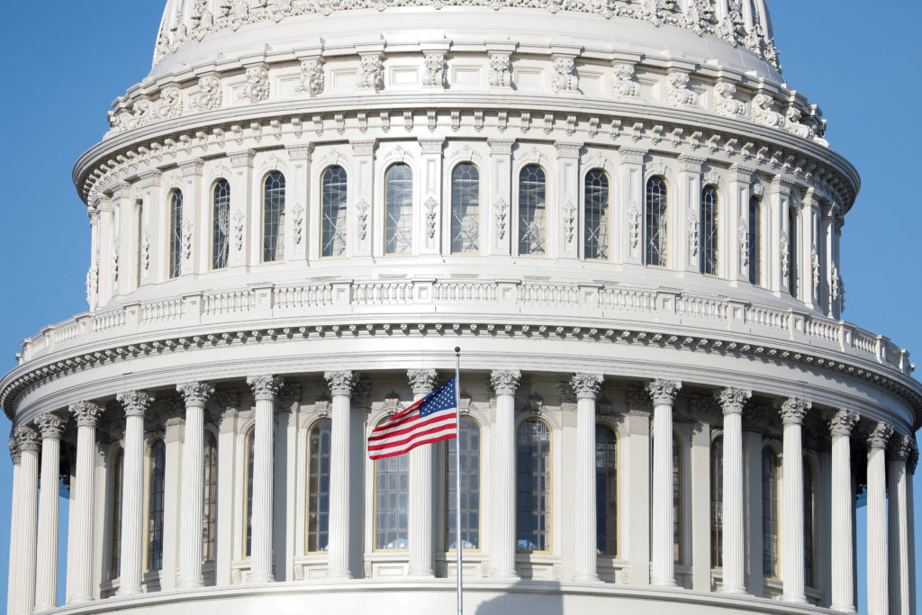 The American Flag flies at the U.S. Capitol Building, as Mayor Muriel Bowser declared a State of Emergency due to the coronavirus disease (COVID-19), on Capitol Hill in Washington, D.C. Photo by Tom Brenner/Reuters
