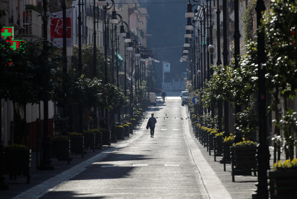 General view of a man in a street in Sorrento as Italy remains under a nationwide lockdown in a government decree that ord...