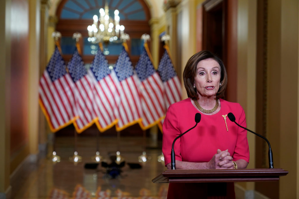 U.S. House Speaker Nancy Pelosi (D-CA) makes a statement about coronavirus disease (COVID-19) economic relief legislation from the Speakers Lobby of the U.S. Capitol Building on Capitol Hill in Washington, U.S., March 23, 2020. REUTERS/Joshua Roberts/Pool