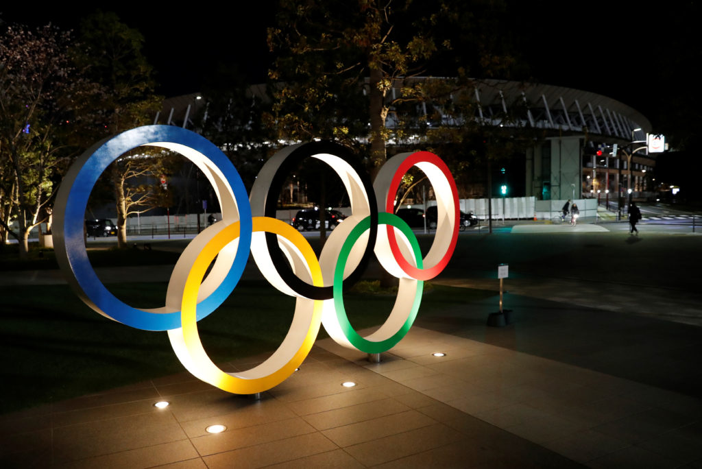 A general view of Olympic rings following an outbreak of the coronavirus disease (COVID-19), in front of the Japan Olympic...