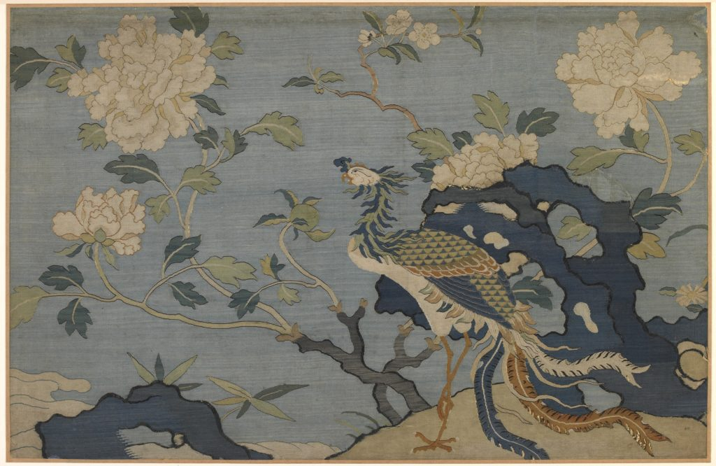 Chinese tapestry of phoenix among flowers and rocks, dated as far back as the Ming dynasty (1368-1644). Image courtesy of Freer Gallery of Art and Arthur M. Sackler Gallery