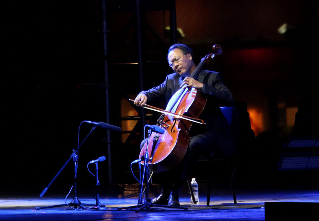 "Yo-Yo Ma performs during ""The Bach Project"" concert in Mexico City, in March 2019. Photo by Adrián Monroy/Medios y Media/Getty Images"