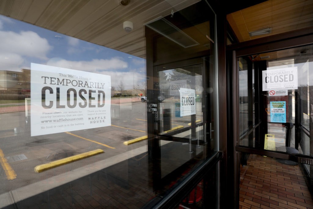 A Waffle House restaurant sits closed after the restaurant chain closed at least 420 locations due to the COVID-19 crisis ...