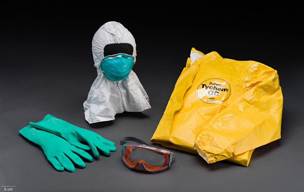 Personal Protection Equipment (PPE), including gloves, goggles, hood, face mask, and coveralls, seen in an epidemics exhibit in the Smithsonian National Museum of Natural History in Washington, D.C. Photo courtesy of the museum
