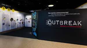 "The exhibit ""Outbreak: Epidemics in a Connected World"" at the Smithsonian National Museum of Natural History. Photo by James Di Loreto, Lucia RM Martino & Fred Cochard, Smithsonian"