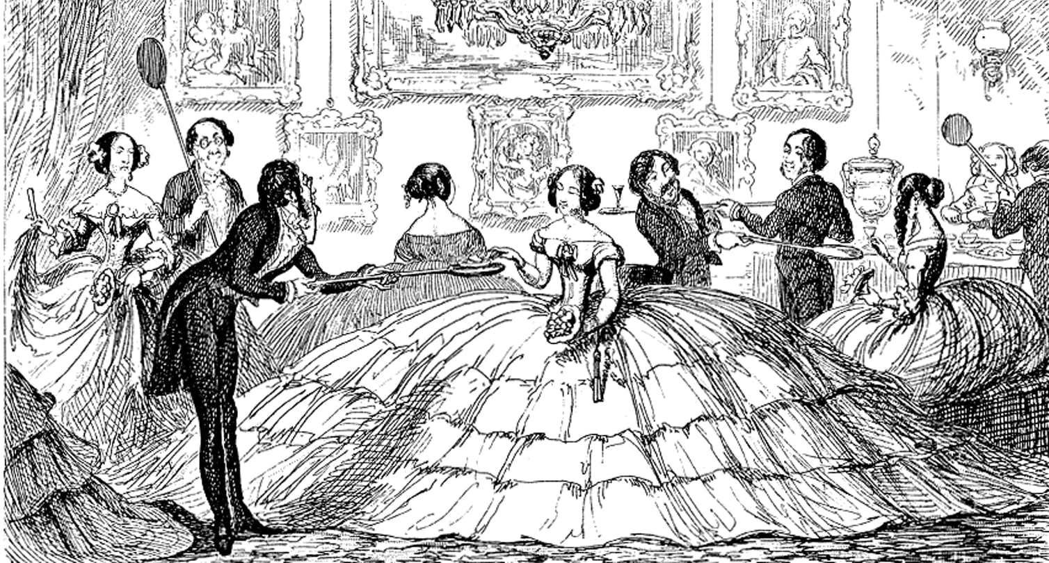 A satirical comic pokes fun at the ballooning crinolines of the mid-19th century. Wikimedia Commons