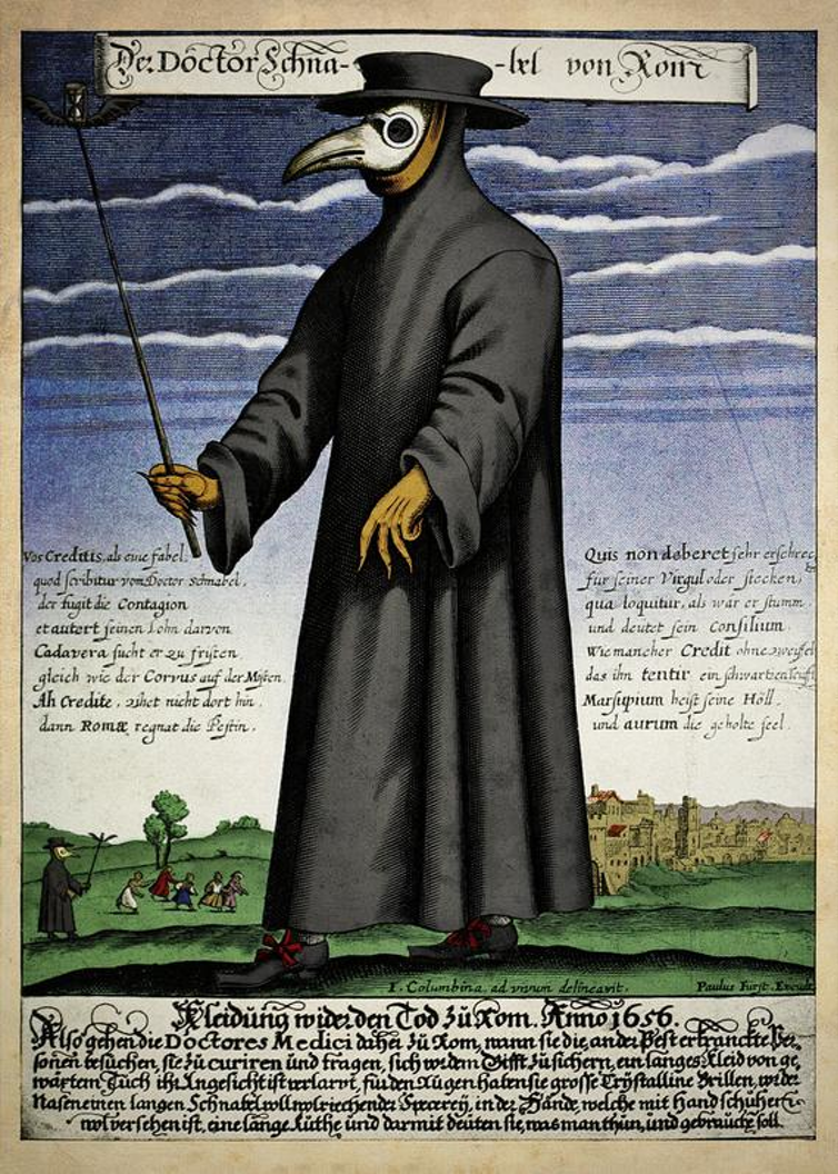 A copper engraving of a plague doctor in 17th-century Rome. Wikimedia Commons