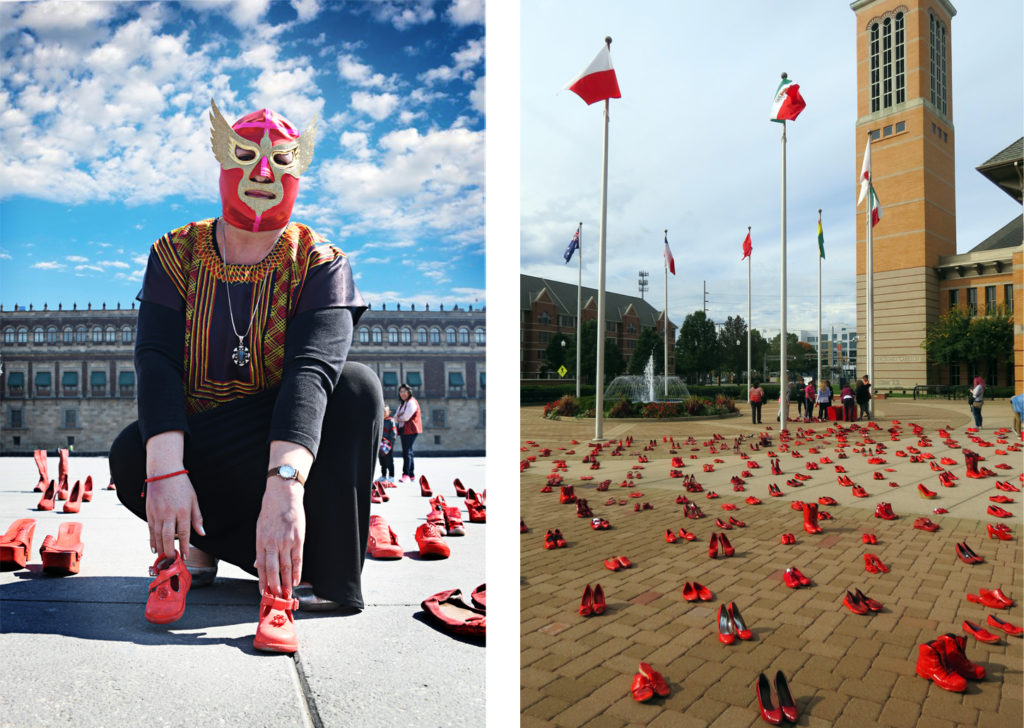 Wearing a luchador mask, artist Elina Chauvet (L) poses for a photo amid the hundreds of pairs of women's red shoes inside Mexico City's famous Zocalo plaza. The photo on the right shows Chauvet's installation that was displayed on Grand Valley State University's Pew Campus in March 2017. Photos courtesy of Elina Chauvet