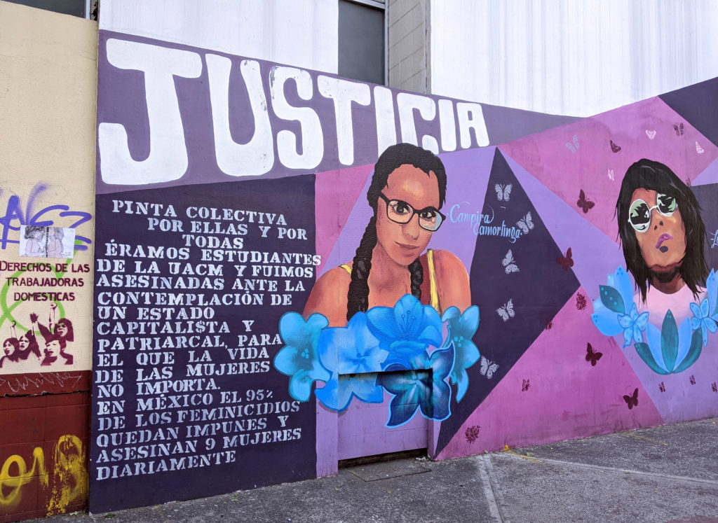 A mural spotted in Mexico City that pays tribute to several women who were killed due to gender-based violence. This part of the mural depicts an image of Campira Camorlinga Alanís, who was killed in 2016. The mural also says that 95 percent of femicide cases go unpunished.