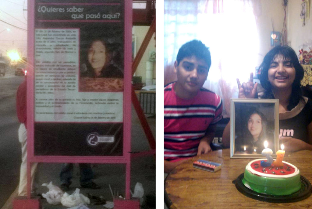 On the left is the notice seen at the bus stop in Juarez that explains the 2001 murder of Andrade. On the right, Andrade's two children celebrate what would have been her 31st birthday in 2014. Photos courtesy of Norma Andrade