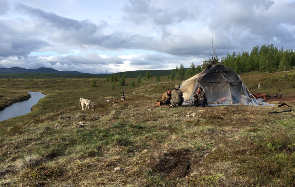Reindeer herders resting outside the village of Anavgai, in Kamchatka. Photo courtesy Julia Phillips