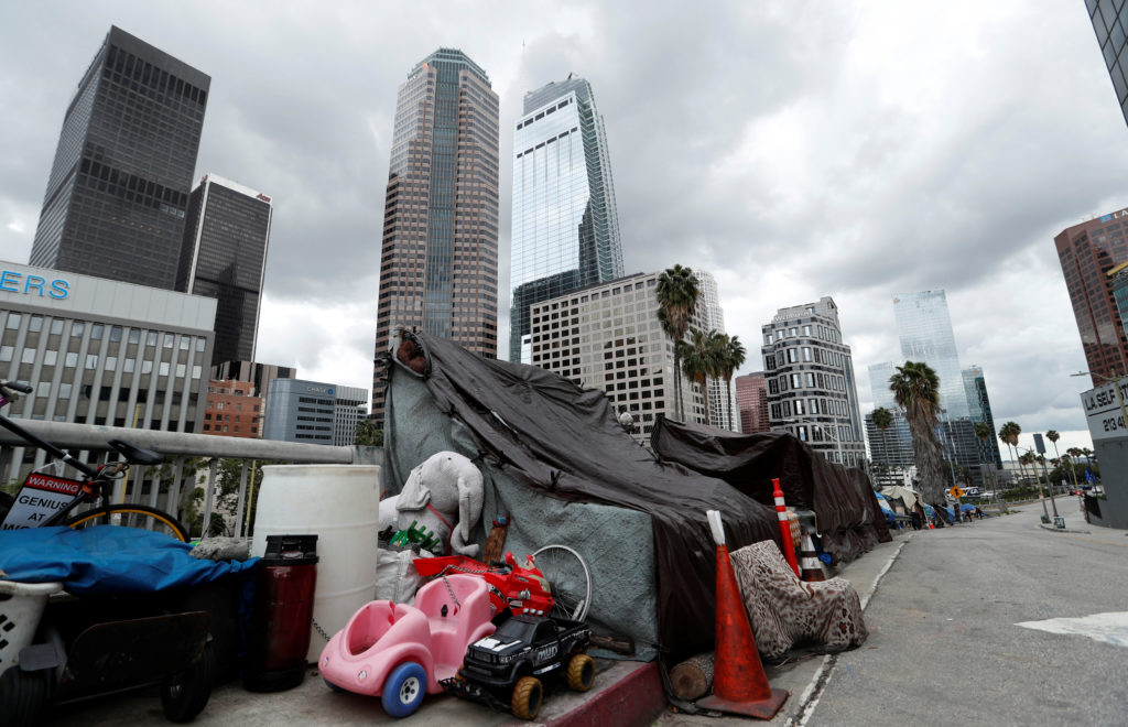 A homeless camp is pictured in the downtown area of Los Angeles after California's governor Gavin Newsom issued an unprece...