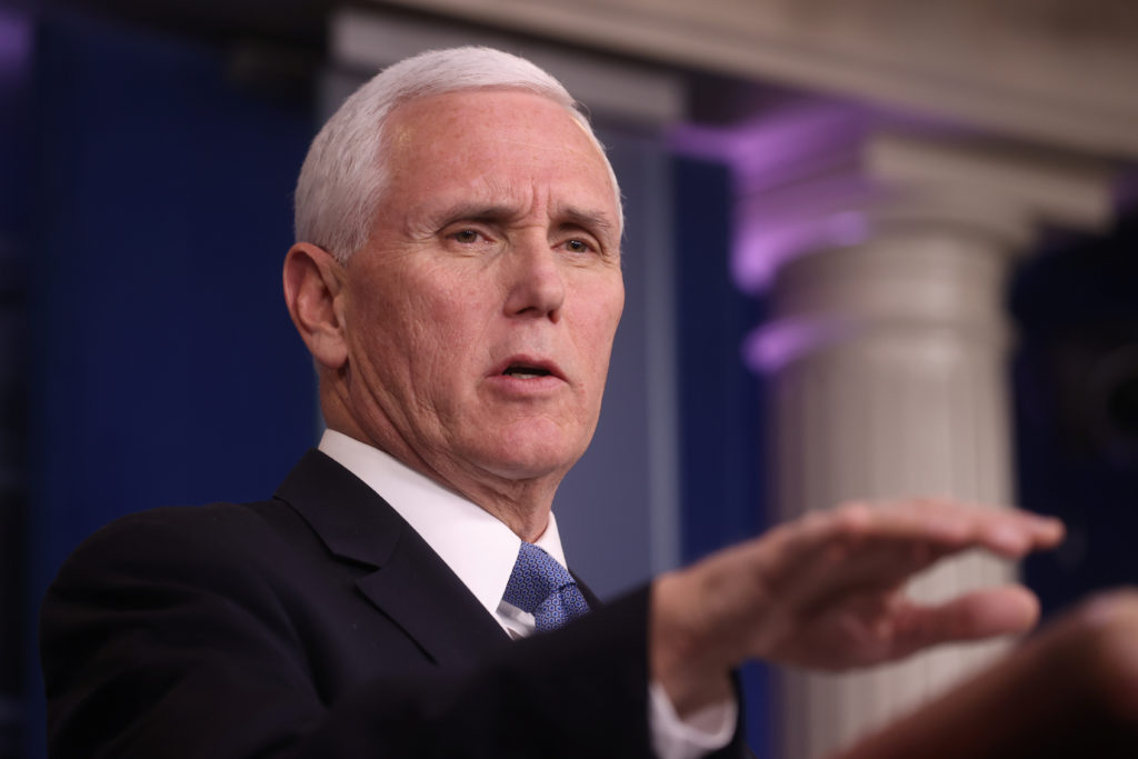 Vice President Mike Pence addresses the coronavirus task force daily briefing at the White House in Washington, U.S., Marc...