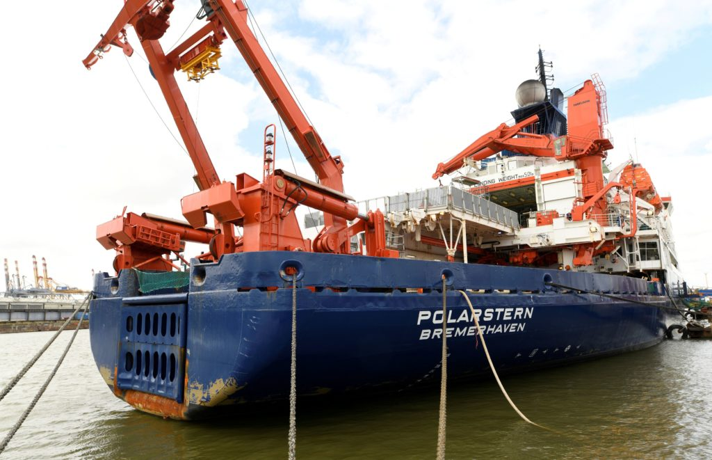 FILE PHOTO: Icebreaker RV Polarstern of German Alfred Wegener Institute is pictured in a shipyard in Bremerhaven, Germany,...
