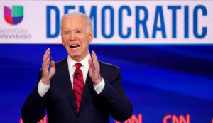 Democratic presidential candidate and former Vice President Joe Biden speaks during the 11th Democratic candidates debate of the 2020 U.S. presidential campaign, held in CNN's Washington studios without an audience because of the global coronavirus pandemic, in Washington, D.C. Photo by Kevin Lamarque/Reuters