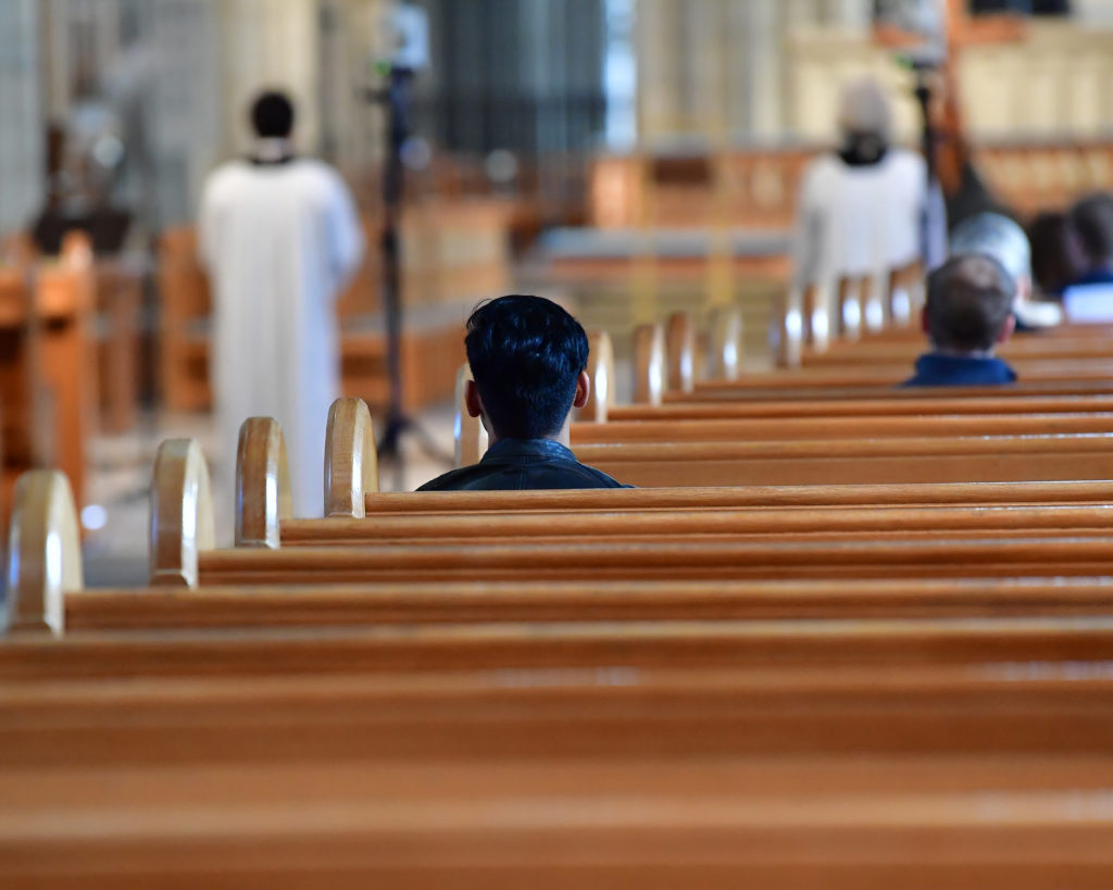 A religious service is performed in a nearly empty Uppsala Cathedral on a Good Friday in Uppsala, Sweden April 10, 2020. Photo by Jonas Ekstromer/TT News Agency/via Reuters