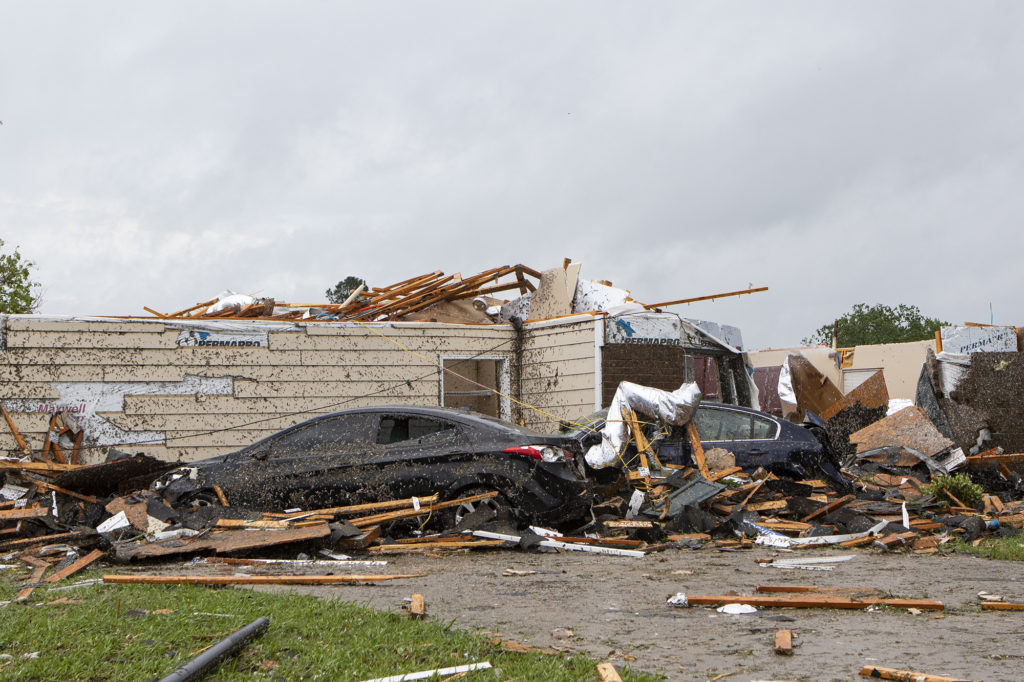 DELETE ON 5/13/20 A home had its roof torn off after a tornado ripped through Monroe, La. just before noon on Sunday, Apri...