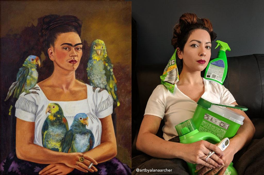 """In Frida Kahlo's 1941 self-portrait """"Yo y Mis Pericos,"""