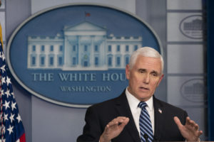 U.S. Vice President Mike Pence speaks during a news conference in the White House in Washington, D.C., U.S., on Friday, April 24, 2020. President Donald Trump has been determined to talk his way through the coronavirus crisis, but his frequent misstatements at his daily news conferences have caused a litany of public health and political headaches for the White House. Photographer: Chris Kleponis/Polaris/Bloomberg via Getty Images