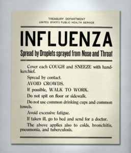 Rules to reduce the spread of Spanish flu printed on a poster by the U.S. Public Health Service, 1918. Photo by Fototeca Gilardi/Getty Images