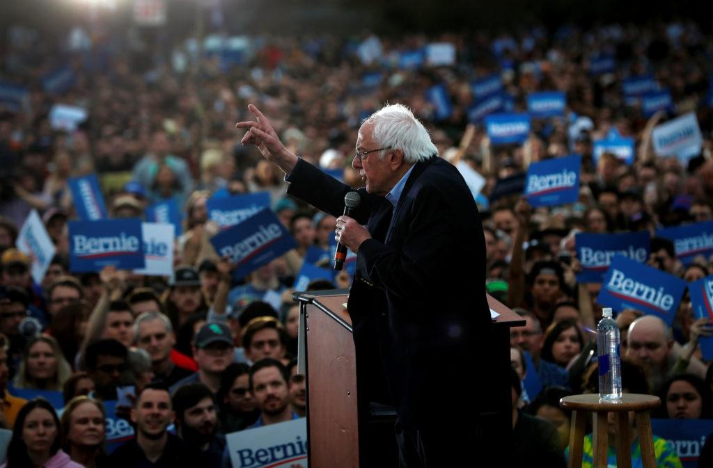 Democratic U.S. presidential candidate Senator Bernie Sanders speaks an outdoor campaign rally in Austin, Texas, U.S., Feb...