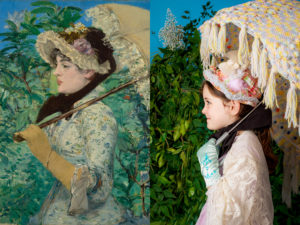 "Photographer Bryan Beasley captured this image of his daughter Layla, who helped him recreate the scene in Édouard Manet's ""Jeanne (Spring)."" inside their Los Angeles home. Painting courtesy of J. Paul Getty Museum. Photo recreation by Bryan Beasley"