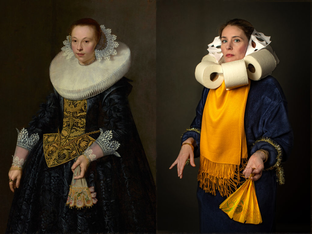 "On the left, Nicolaes Pickenoy's ""Portrait Of A Young Woman."" On the right, a recreation of the 1632 painting, with a toilet paper collar. Painting courtesy of J. Paul Getty Museum. Photo recreation by Bryan Beasley"