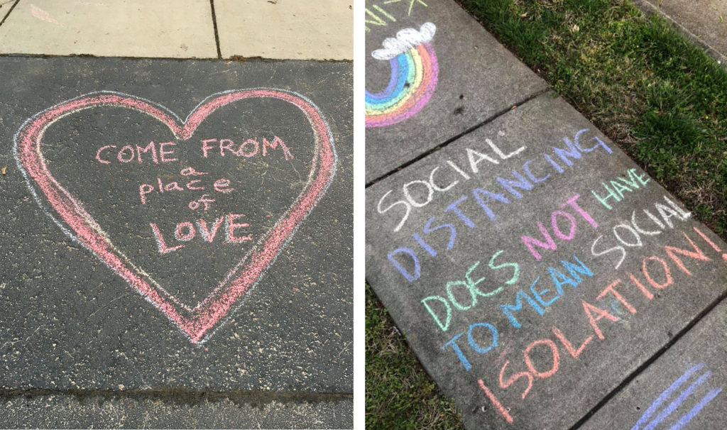 (L) A chalk message made by Lisa Cupery in Brighton, New York. (R) A chalk message found in Woodbridge, Virginia. Photos courtesy of Dennis Woodyard and Chris Allen