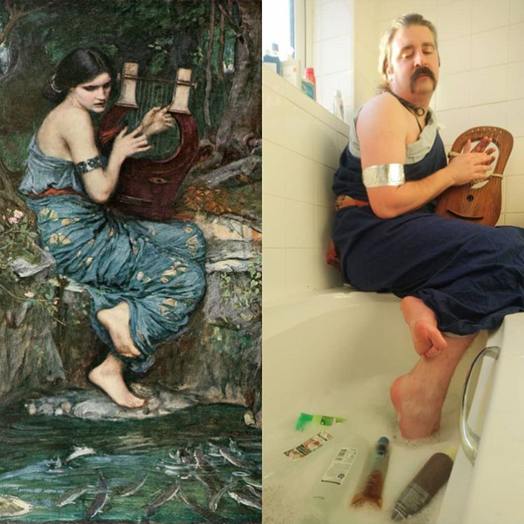 Musician Drustan Durman, who owns a lyre, poses for a recreation (R) of John William Waterhouse's 1911 painting