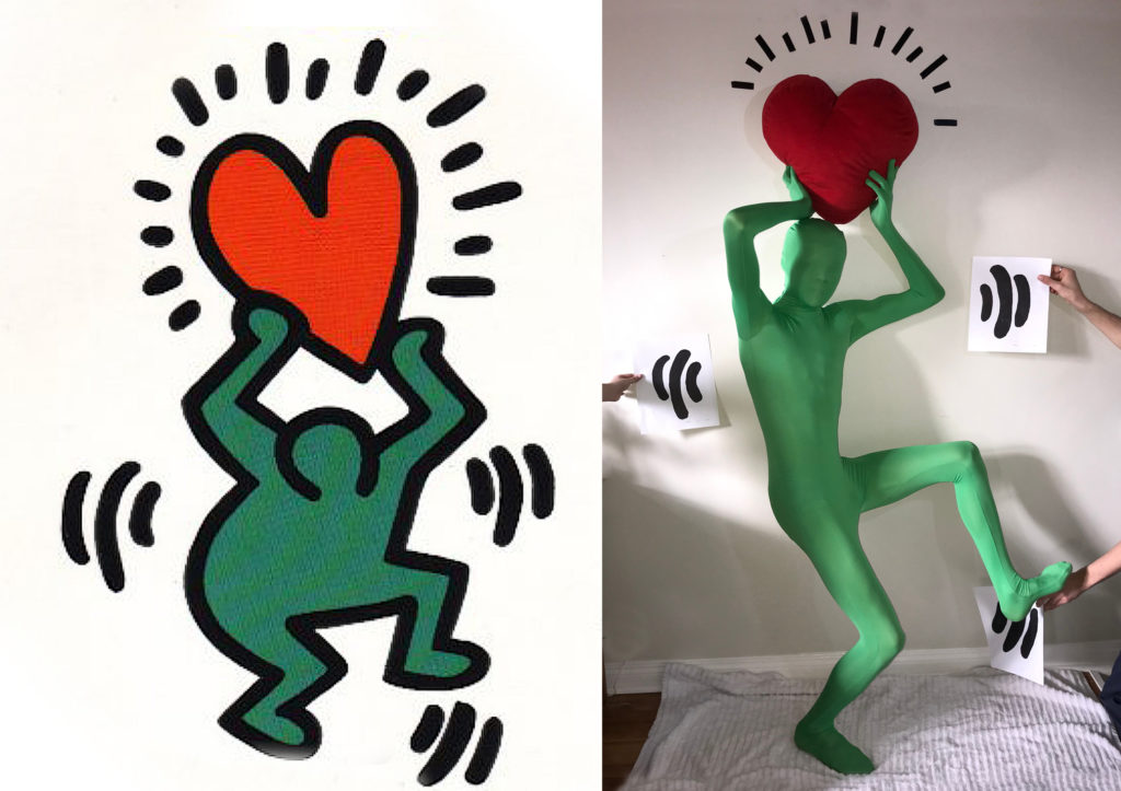 On the left is a Keith Haring cover art image for a 1992 benefit record. On the right is a recreation of the iconic Haring imagery by a family in Vancouver. Haring image belongs to The Keith Haring Estate. Photo by Marian De Gier