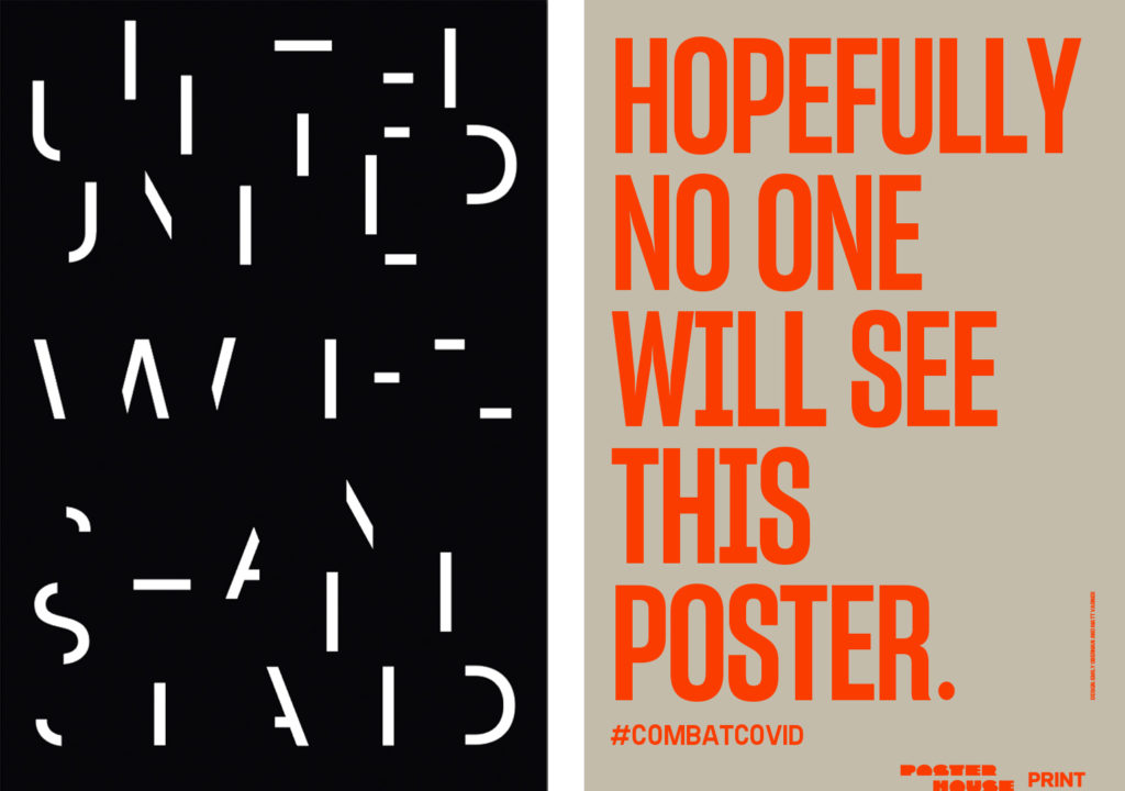 (From left) Posters by Paul Sahre and Emily Oberman. Images provided by Times Square Arts